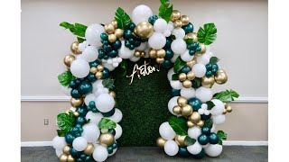 30 Minutes to set up 😱| Balloon Garland/Arch Tutorial | Jungle Baby Shower Theme