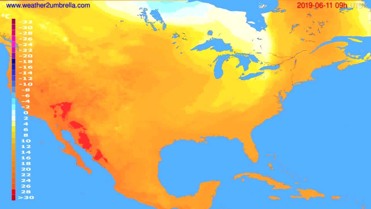 Temperature forecast USA & Canada // modelrun: 12h UTC 2019-06-09