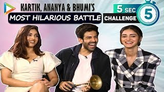 5 SECOND CHALLENGE: Kartik, Ananya & Bhumi's LAUGH RIOT- Top 3 Actors & Actresses in Bollywood ?