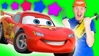 Видео для детей: Молния Макквин из мультика Тачки 3 готовится к гонке. Трансформер Автобот Бамблби