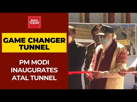 PM Narendra Modi At Atal Tunnel, Inaugurates All-weather Strategically Crucial Manali-Leh tunnel