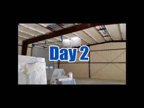 Over 2,000 square feet of closed cell spray foam insulation is installed in a warehouse in Providence Forge, VA. The Job took installers David and Moe three days to complete.