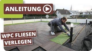 WPC Fliesen mit Klick Kunststoffrasen auf einer Terrasse verlegen