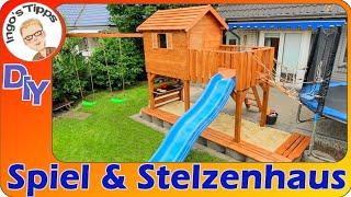 Kinderspielhaus Stelzenhaus Matschküche Hängebrücke Sandkiste und Schaukeln selber bauen IngosTipps