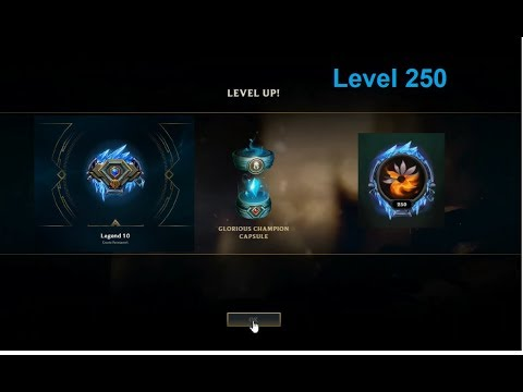 What does level 250 get you in league of legends? All emotes