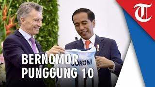 Jokowi Dapat Jersey Timnas Argentina Milik Lionel Messi Bernomor Punggung 10 dari Presiden Macri