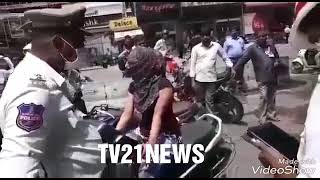 Abids Traffic Police & Bike Rider Lady Between Panic On Road.Traffic Sub Inspector Bike Tak
