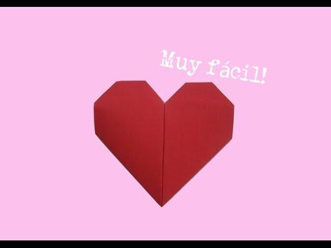 ♥ Como hacer un corazón de papel - muy fácil - origami - tutorial - instrucciones - doblar - plegar