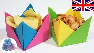 Easy Origami Container / Origami Paper Bowl / Origami Candy Dish Mathie