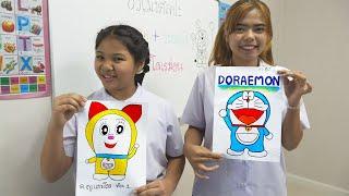 หนังสั้น | ชั่วโมงศิลปะ วาดภาพ+ภาพระบายสี โดเรม่อน EP.1 | Drawing + coloring pictures Doraemon