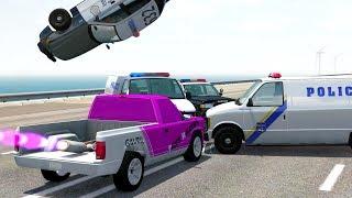 ROCKET POWERED CARS VS POLICE BLOCKADE - BeamNG Drive Police Road Block