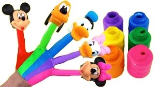 Learn Colors Nursery Rhymes Finger Family Hand Body Paint Candy Pez Mickey Minnie Donald Daisy