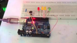 Build a simple VU meter with an Arduino Uno and LEDs