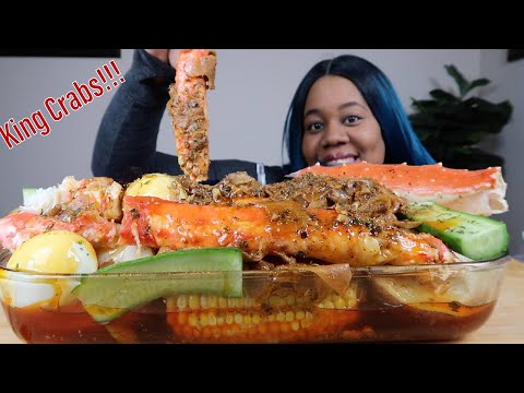 DESHELLED KING CRABS SEAFOOD BOIL MUKBANG, TRY NOT TO SAY mmm CHALLENGE