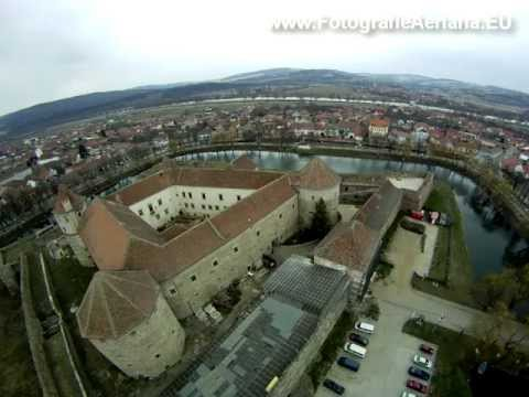 Aerial video of Fagaras mediaval fortres