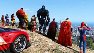 Superheroes SpiderMan and Super Sport Cars Сhallenge GTAV !Испытание Супер героев на большом спуске