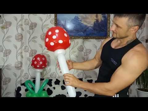 Как сделать грибочек из воздушных шаров / How to make a mushroom from balloons