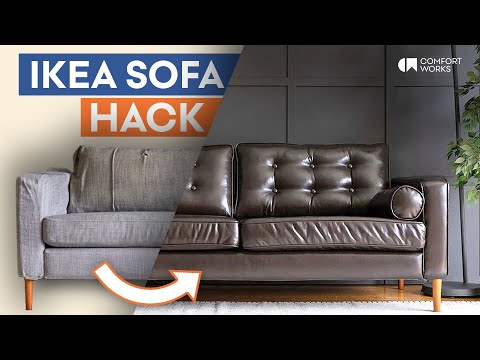 IKEA Sofa Hack | Leather Slipcover + Legs + Tufting Makeover