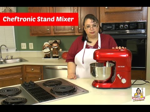 , Stand Mixer CHEFTRONIC SM-928 350W Kitchen Mixer 4.2qt Stainless Bowl 6 Speed Electric Mixer with Dough Hook, Wire Whip, Splash Guard