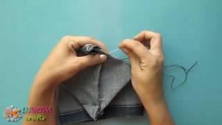 bricolage : jean recyclée en petites corbeilles