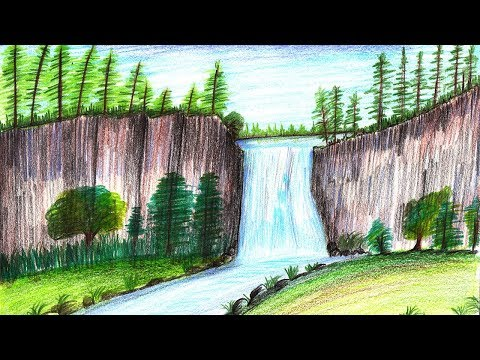 How to Draw a Beautiful Waterfall Step by Step - very easy