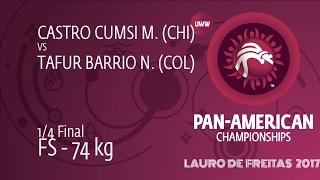 1/4 FS - 74 kg: N. TAFUR BARRIO (COL) df. M. CASTRO CUMSI (CHI) by TF, 10-0