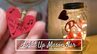 DIY Light Up Mason Jar For Him/Her 💡