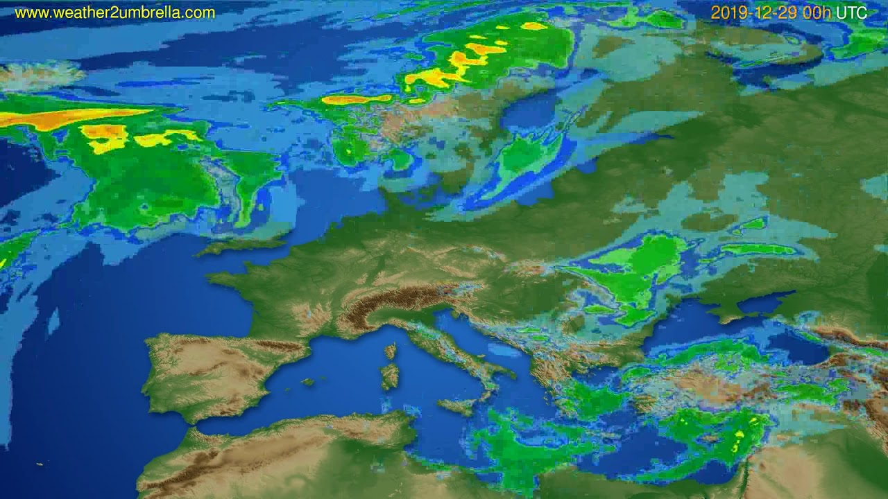 Radar forecast Europe // modelrun: 12h UTC 2019-12-28