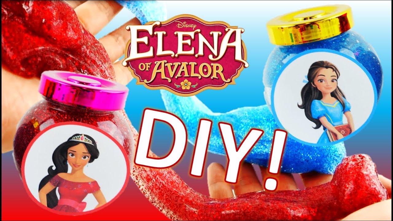 Easy DIY Princess Elena and Isabel Glitter Slime! How to make Elena of Avalor Putty Jar