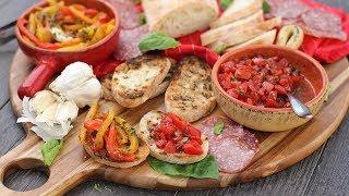 Italian Antipasti: Bruschetta & Roasted Peppers