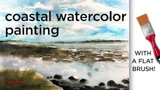 Coastal watercolor painting - with a flat brush! Westcliff-on-Sea