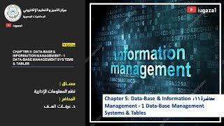 محاضرة 11: Chapter 5: Data-Base & Information Management - 1 Data-Base Management Systems & Tables