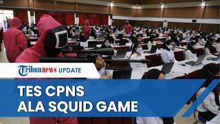 Unik, Tes CPNS Kemenkumham di Surabaya Dijaga Pasukan Pink Soldier ala Serial Squid Game