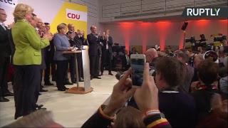 Пресс-конференция Ангелы Меркель по предварительным итогам парламентских выборов в Германии