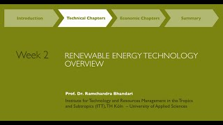 MOOC Week 2: Renewable Energy Resources & Technologies