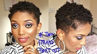 Natural hair(4C) Two Strands Twist Out on a Very Short Hair