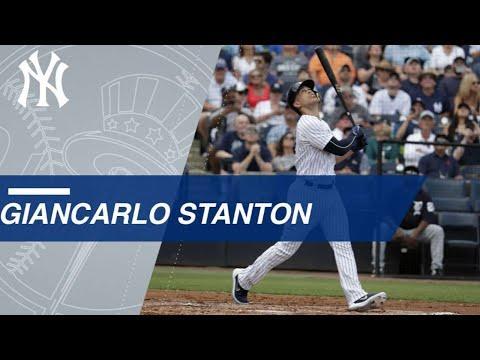DET@NYY: Giancarlo Stanton makes spring debut for Yankees
