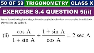 Exercise 8.4 Ques 5 Part 2 Introduction to Trigonometry Class 10 Maths