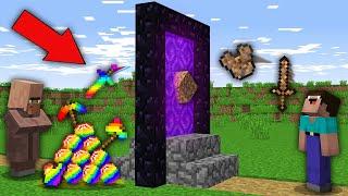Minecraft NOOB vs PRO: NOOB UPGRADE DIRT ITEMS INTO RAINBOW ITEMS FOR VILLAGER IN PORTAL! trolling