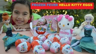 HELLO KITTY Frozen Fever Elsa and Anna Hello Kitty Kinder Surprise Eggs Kids Balloons and Toys