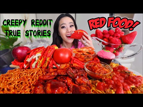 ONLY RED MUKBANG (Nuclear Noodles, Spaghetti, Korean Fried Chicken) 먹방 | Eating Show