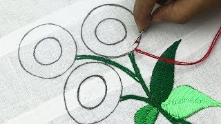 Hand Embroidery, Elegant Flower Embroidery Design With Various Stitches, Fantasy Flower Embroidery