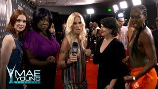 """The cast of Netflix's """"GLOW"""" arrive for the Mae Young Classic Finale: Exclusive, Sept. 12, 2017   Kholo.pk"""