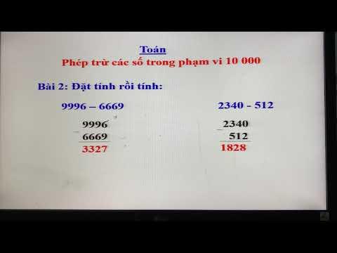 Toán lớp 3: Phép trừ các số trong phạm vi 10 000