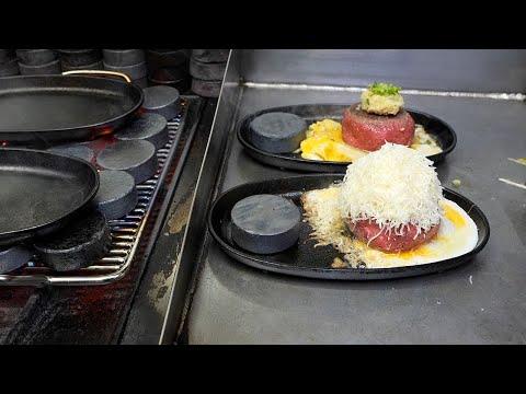 정관에서 유명한 치즈 함박 스테이크 / egg cheese hamburger steak / korean street food
