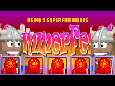 Growtopia - Using 5 Super Fireworks