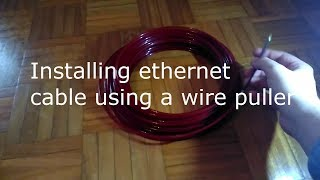 Installing ethernet cable using wire puller from banggood
