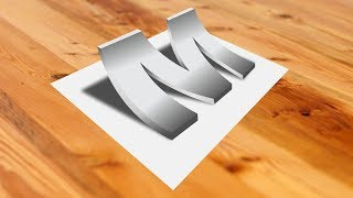 How to Make Awesome 3D Alphabet M Design In Corel Draw X8, Corel Draw Tutorials By Bahadur Lal