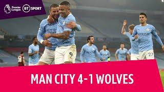 Man City vs Wolves (4-1) | City match qws-ntaub ntawv 28-game unbeaten run | Cov Ntsiab Lus Tseem Ceeb hauv Premier League