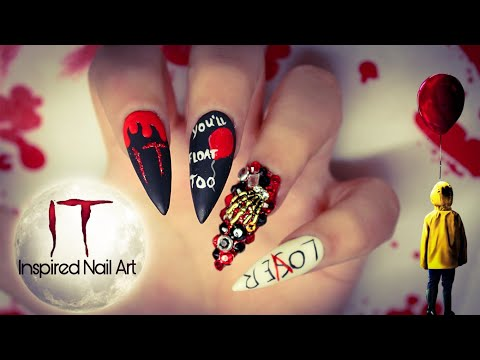 IT Inspired Halloween Nails|  Easy Freehand Halloween Nail Art